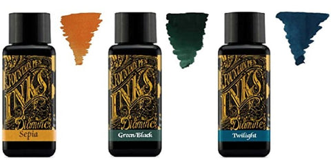 Diamine - 30ml Fountain Pen Ink - 3 Pack - Sepia, Green Black, Twilight