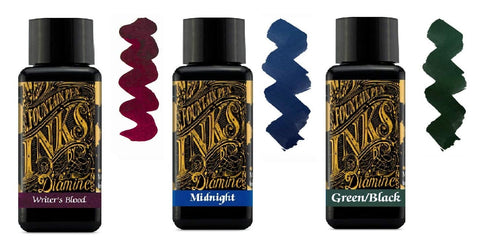 Diamine 30ml Fountain Pen Ink - 3 Pack - Writers Blood & Midnight Blue & Green Black