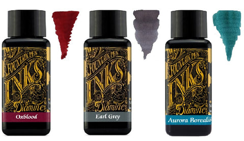 Diamine - 30ml Fountain Pen Colour Ink - 3 Pack - Oxblood & Earl Grey & Aurora Borealis