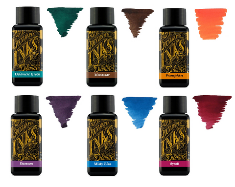 Diamine Fountain Pen Ink 30ml - Colour Wheel 5 - 6 Pack