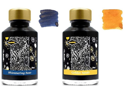 Diamine - 50ml Fountain Pen Shimmer Ink - 2 Pack - Shimmering Seas & Golden Sands
