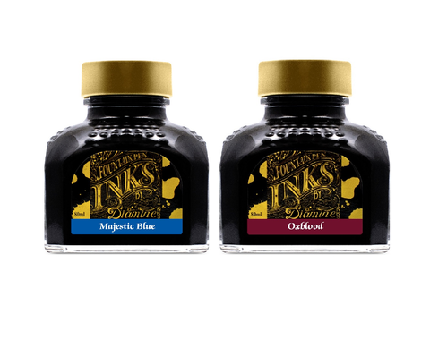 Diamine - 80ml Fountain Pen Ink 2 Pack - Oxblood & Majestic Blue