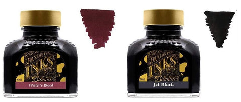 Diamine Fountain Pen Ink 80ml - 2 x Bottles - Writers Blood & Jet Black