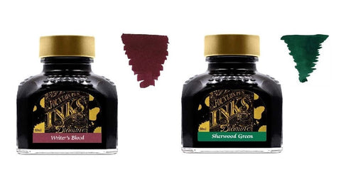 Diamine Fountain Pen Ink 80ml - 2 x Bottles - Writers Blood & Sherwood Green