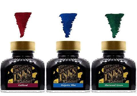 Diamine - 80ml Fountain Pen Primary Colour Ink - Oxblood & Majestic Blue & Sherwood Green
