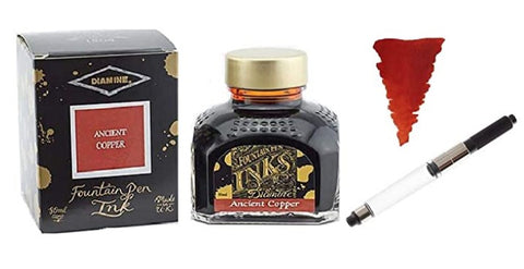 Diamine - 80ml Fountain Pen Ink  with Schmidt K5 Standard International Converter - Ancient Copper