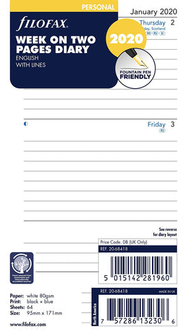 Filofax - Personal Week on Two Pages Diary Refills 2020 - Lined