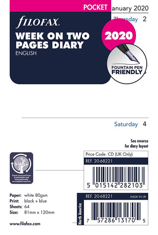 Filofax - Pocket Week on Two Pages Diary Refills 2020 - White