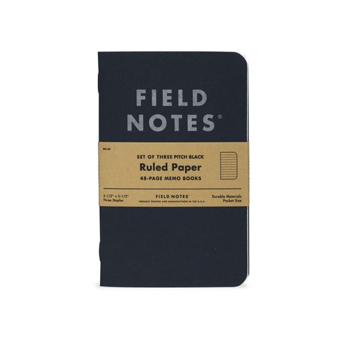 Field Notes Memo Book, 3 Pack, Pitch Black - Ruled