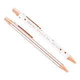 kikki.K - Retractable Ballpoint Pens - Essential 2 Pack Gift Box - Rose Gold and White