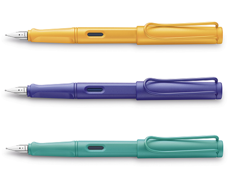 Lamy Safari Fountain Pen Set - Pack of 3 - Medium Nib - Mango Aquamarine Violet - Candy Special Edition 2020