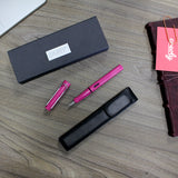 Lamy Safari Fountain Pen and Black Leather Pen Holder Gift Set by Creoly.