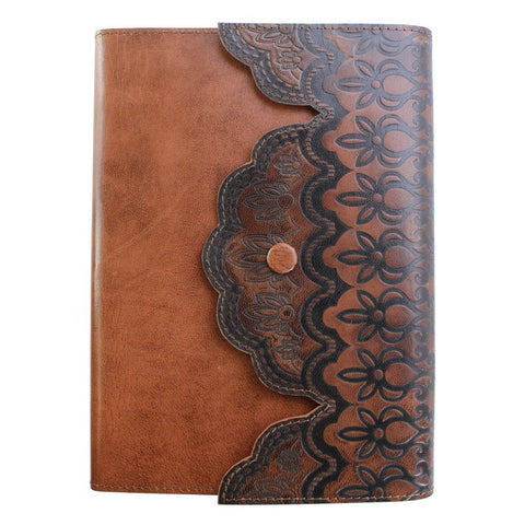 "Fortessa ""Merletto"" Dark Brown Leather Journal with Stud Closure"