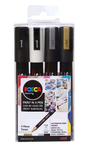 POSCA Paint Markers - PC-1M Mono 4 Pack