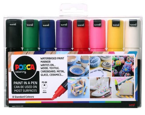 POSCA - Paint Markers - PC-8K Assorted Starter 8 Pack