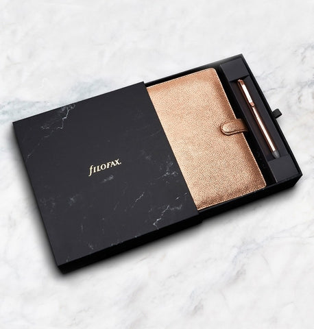 New Filofax Gift Set | Filofax Finsbury Rose Gold Personal Organizer plus Erasable Rose Gold Ballpoint Pen