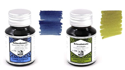 Rohrer & Klingner - 50ml Bottle Fountain Pen Ink Set - 2 x Bottles - Salix & Alt-Goldgrun