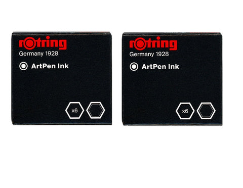 Rotring - Short Ink Cartridges - Black - 2 x Box of 6