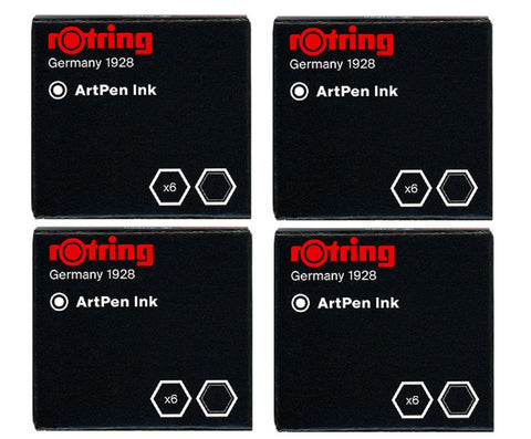 Rotring - Short Ink Cartridges - Black - 4 x Box of 6