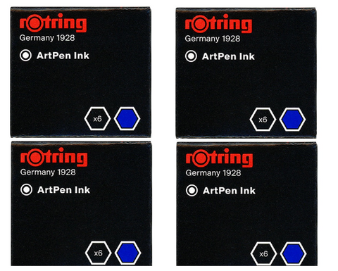 Rotring - Short Ink Cartridges Brilliant Blue - 4 x Box of 6