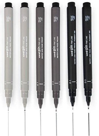 Uni-Ball Uni Pin Fineliner Pen Mix 6 Pack - 0.1, 0.5mm - Grey Tones