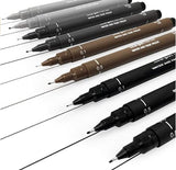 Uni-Ball Uni Pin Fineliner Pen Mix 9 Pack - 0.1, 0.5mm - Black, Greys and Sepia