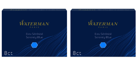 Waterman - Large Size Standard Ink Cartridges - 2 x Box of 8 - Serenity Blue