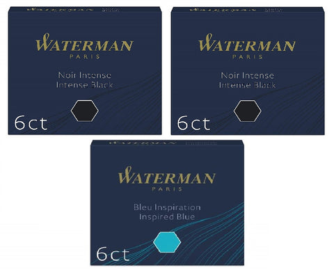 Waterman - Short International Ink Cartridges - 1 x South Sea International and 2 x Black - Pack of 3