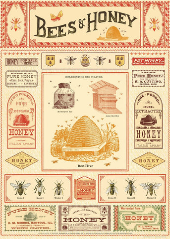 Cavallini - Bees & Honey - Wrapping Paper / Poster