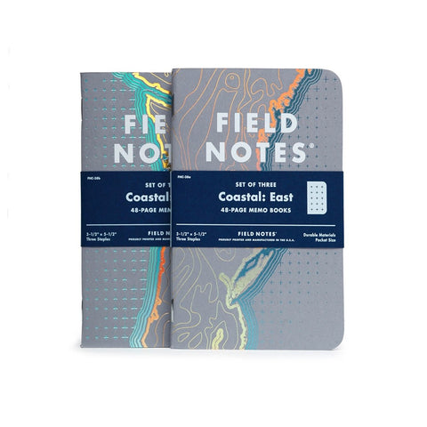 "Field Notes Memo Book, 3 Pack - ""Coastal East"" Limited Edition Spring 2018"