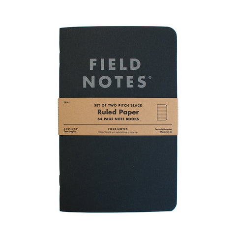Field Notes Notebook, 2 Pack, Pitch Black - Dot Graph