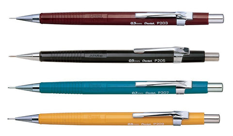 Pentel - P200 Mechanical Pencils - 0.3/0.5/0.7/0.9mm - Set of 4 - Assorted Colours