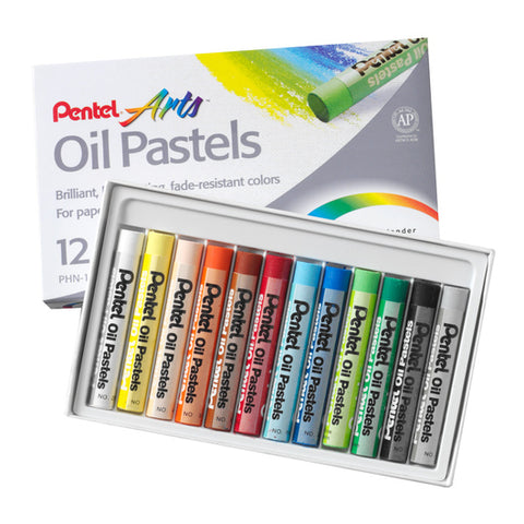 Pentel Oil Pastels - Pack of 12 Assorted Colours