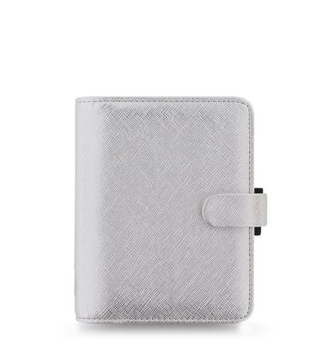 Filofax Saffiano Metallic Pocket Organiser Silver | New 2018 Colour!