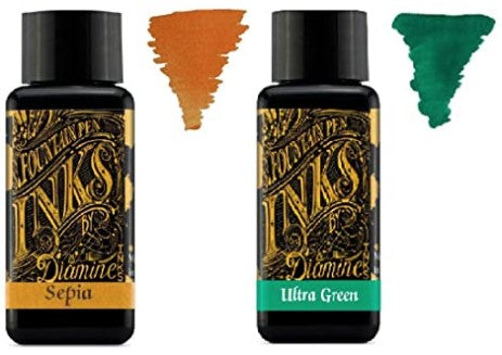 Diamine - 30ml Fountain Pen Ink 2 Pack - Sepia & Ultra Green