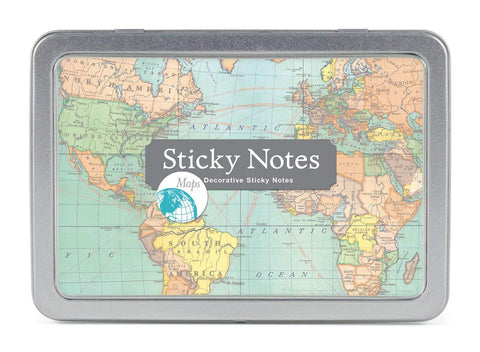 Cavallini Sticky Notes | Vintage Map