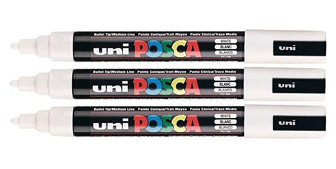 POSCA Paint Markers - PC-5M White Ultra Fine Tip - 3 Pack