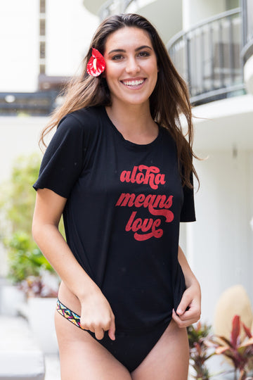 TEE ALOHA MEANS LOVE - LAVA BLACK