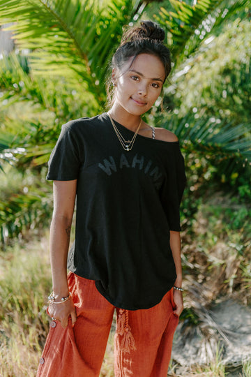 TEE WAHINE - OVERSIZED FIT - LAVA BLACK