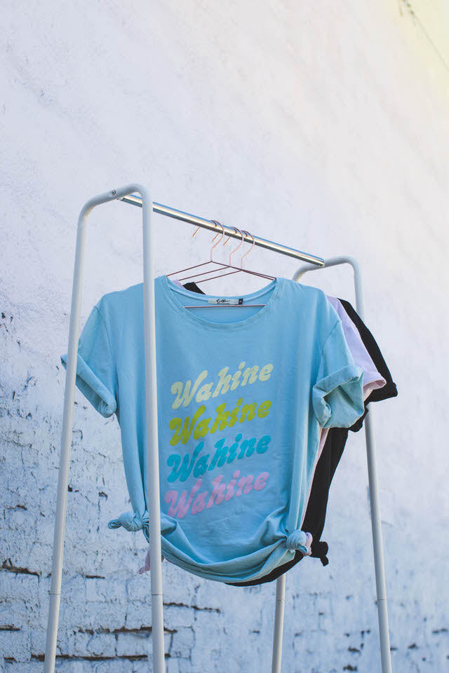 TEE RETRO WAHINE - OVERSIZED FIT - SEA GLASS BLUE