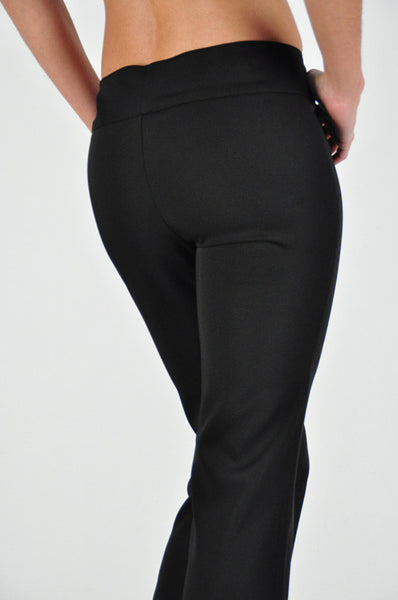 Flared solid pants with side front button closure (Small - Med) - Fierce Berry - pants - La Scala - 4