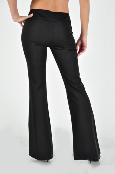 Flared solid pants with side front button closure (Small - Med) - Fierce Berry - pants - La Scala - 5
