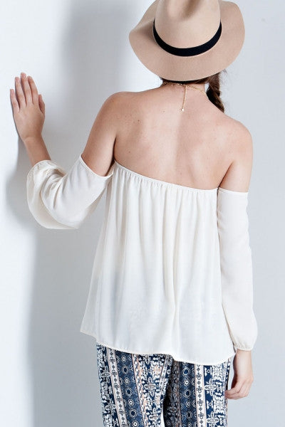 Solid off the Shoulder 3/4 Sleeve Top (Butter) - Fierce Berry - shirts - entro - 5