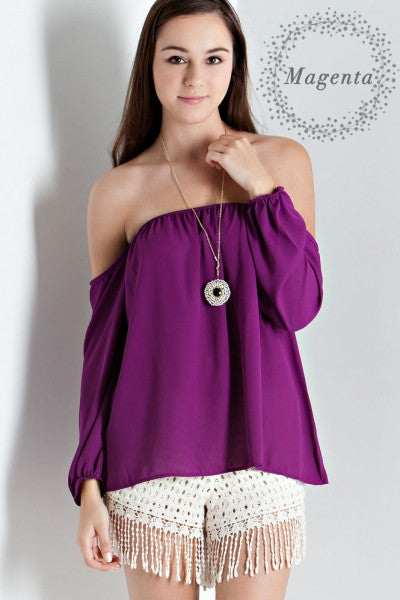 Solid off the Shoulder 3/4 Sleeve Top (Magenta) - Fierce Berry - shirts - entro