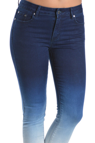 Premium Blue Denim Skinny Ombre Jeans extra Acid Wash - Fierce Berry - jeans - Denim Hug - 2