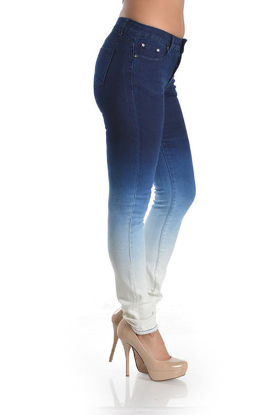 Premium Blue Denim Skinny Ombre Jeans extra Acid Wash - Fierce Berry - jeans - Denim Hug - 3