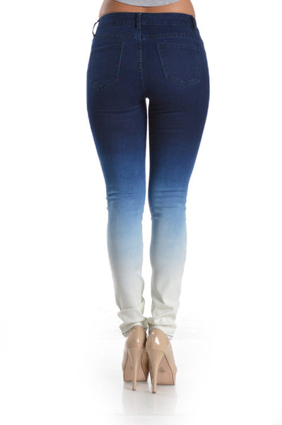 Premium Blue Denim Skinny Ombre Jeans extra Acid Wash - Fierce Berry - jeans - Denim Hug - 4