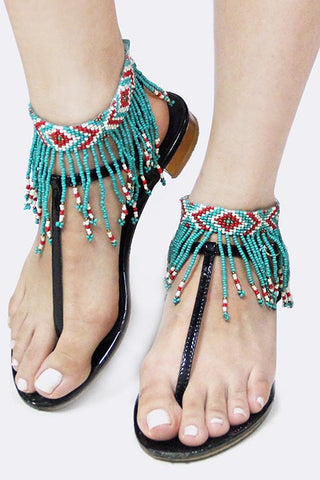 Acrylic seed bead fringe anklet (Red/Turquoise) - Fierce Berry - Anklet - Art Box
