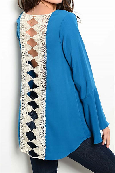 Bell Sleeve Solid Crochet Open Lace Back Top - Fierce Berry - shirts - Rousseau - 1