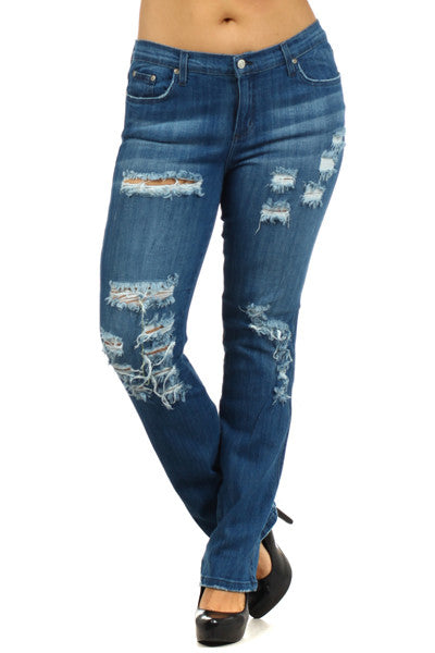 Medium Blue 5 Pocket Distressed Straight Leg Plus Jeans (XL through XXXL) - Fierce Berry - Plus size - Judy Blue - 2